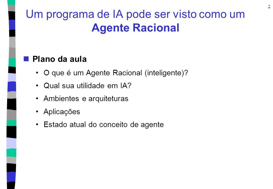 2 Um programa de IA pode ser visto como um Agente Racional Plano da aula O que é um Agente Racional (inteligente)? Qual sua utilidade em IA? Ambientes