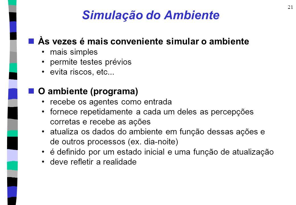 21 Simulação do Ambiente Às vezes é mais conveniente simular o ambiente mais simples permite testes prévios evita riscos, etc... O ambiente (programa)