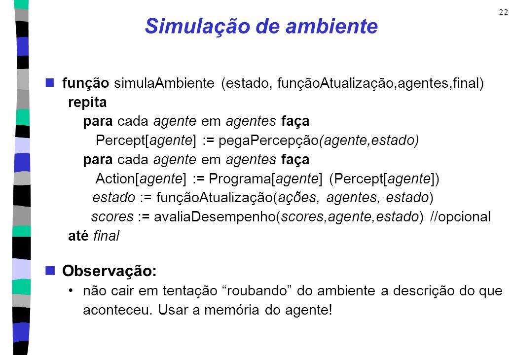 22 Simulação de ambiente função simulaAmbiente (estado, funçãoAtualização,agentes,final) repita para cada agente em agentes faça Percept[agente] := pe