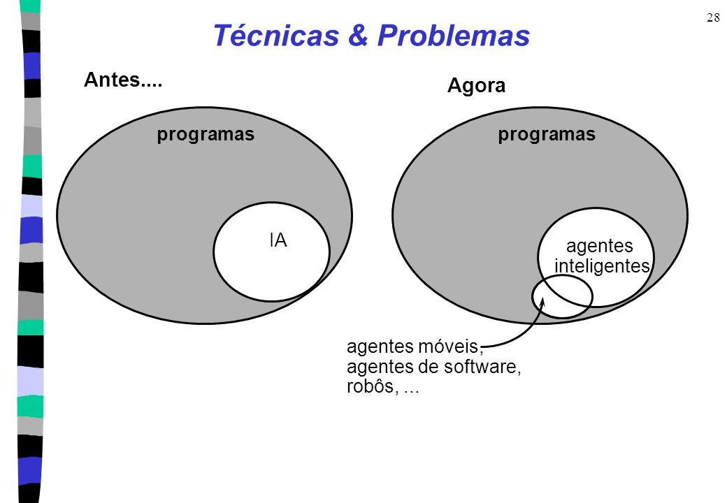 28 Técnicas & Problemas Antes.... programas IA programas Agora agentes móveis, agentes de software, robôs,... agentes inteligentes