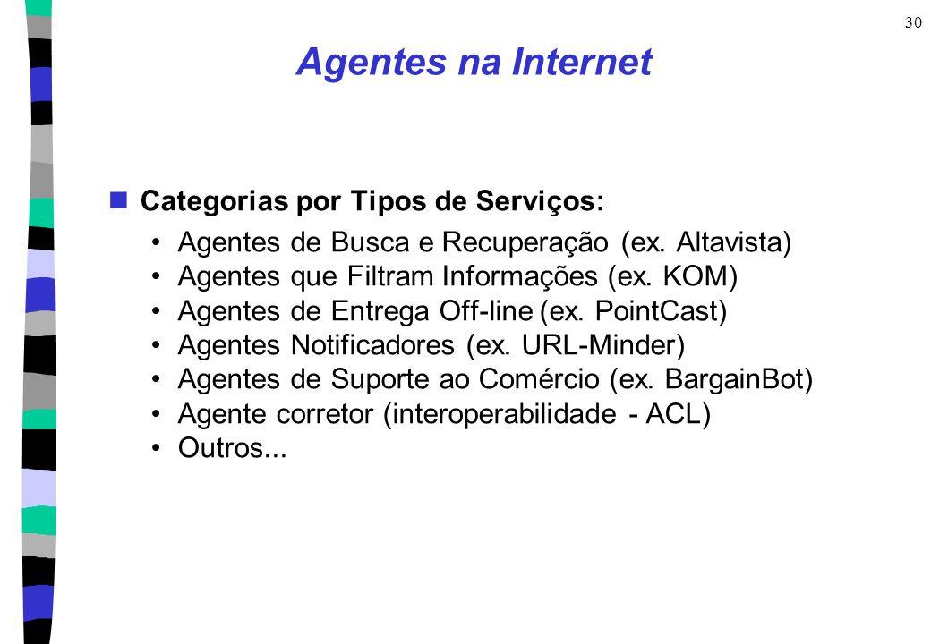 30 Agentes na Internet Categorias por Tipos de Serviços: Agentes de Busca e Recuperação (ex. Altavista) Agentes que Filtram Informações (ex. KOM) Agen