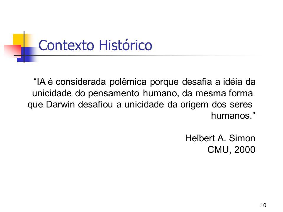 """10 Contexto Histórico """"IA é considerada polêmica porque desafia a idéia da unicidade do pensamento humano, da mesma forma que Darwin desafiou a unicid"""
