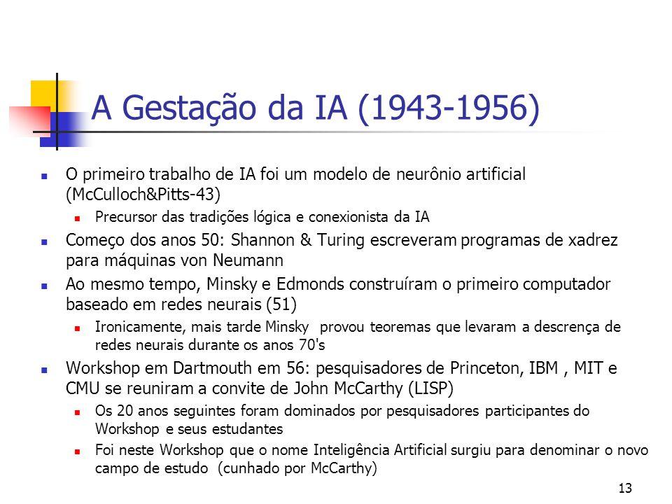 13 A Gestação da IA (1943-1956) O primeiro trabalho de IA foi um modelo de neurônio artificial (McCulloch&Pitts-43) Precursor das tradições lógica e c