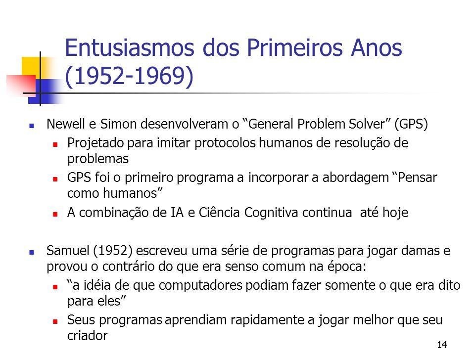 """14 Entusiasmos dos Primeiros Anos (1952-1969) Newell e Simon desenvolveram o """"General Problem Solver"""" (GPS) Projetado para imitar protocolos humanos d"""