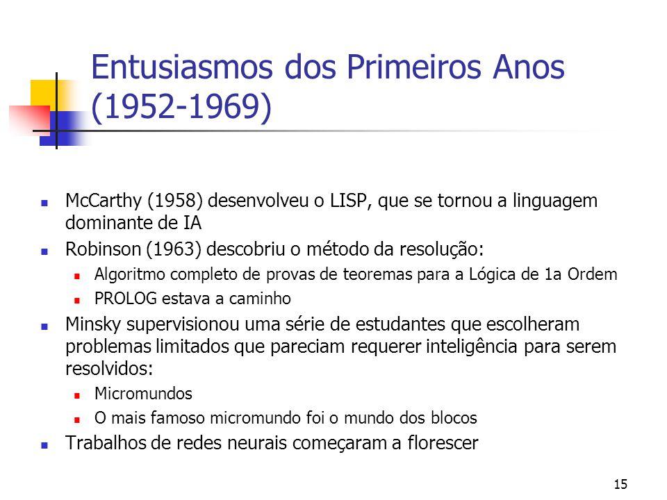 15 Entusiasmos dos Primeiros Anos (1952-1969) McCarthy (1958) desenvolveu o LISP, que se tornou a linguagem dominante de IA Robinson (1963) descobriu