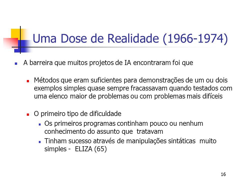 16 Uma Dose de Realidade (1966-1974) A barreira que muitos projetos de IA encontraram foi que Métodos que eram suficientes para demonstrações de um ou