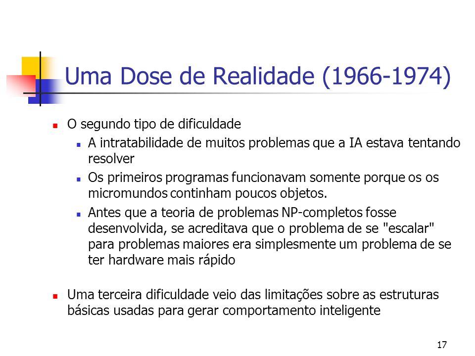 17 Uma Dose de Realidade (1966-1974) O segundo tipo de dificuldade A intratabilidade de muitos problemas que a IA estava tentando resolver Os primeiro