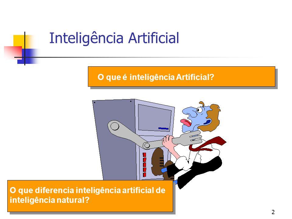 2 Inteligência Artificial O que é inteligência Artificial? O que diferencia inteligência artificial de inteligência natural?