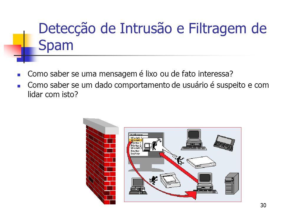 30 Detecção de Intrusão e Filtragem de Spam Como saber se uma mensagem é lixo ou de fato interessa? Como saber se um dado comportamento de usuário é s