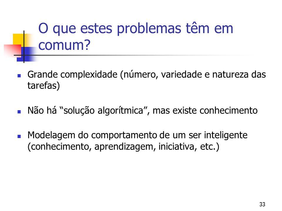 """33 O que estes problemas têm em comum? Grande complexidade (número, variedade e natureza das tarefas) Não há """"solução algorítmica"""", mas existe conheci"""