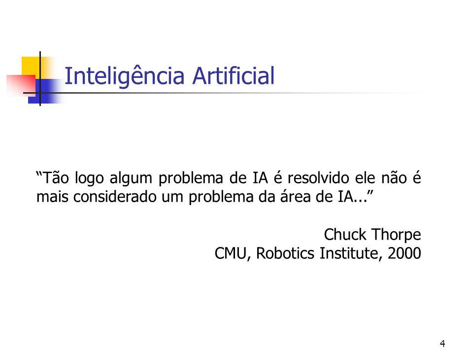 """4 Inteligência Artificial """"Tão logo algum problema de IA é resolvido ele não é mais considerado um problema da área de IA..."""" Chuck Thorpe CMU, Roboti"""