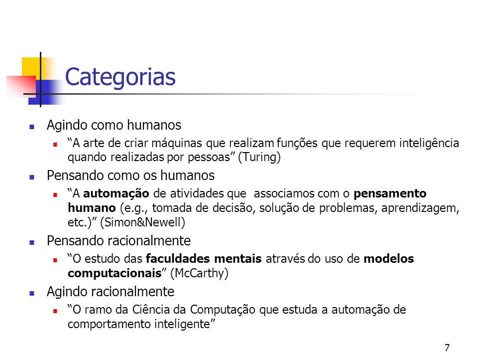 """7 Categorias Agindo como humanos """"A arte de criar máquinas que realizam funções que requerem inteligência quando realizadas por pessoas"""" (Turing) Pens"""
