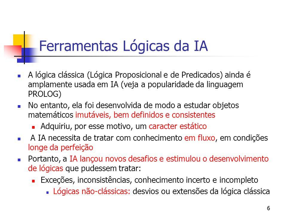 7 Lógicas Não-Clássicas As lógicas não-clássicas podem ser classificadas em dois grupos distintos: Extensões da lógica clássica: adicionam um vocabulário novo, portanto novos teoremas e inferências válidas, mas mantêm todos os teoremas originais Lógica Modal Lógica Temporal Lógicas Não-Monotônicas Desvios da lógica clássica: em geral mantêm o vocabulário original da lógica clássica, no entanto difere com respeito a teoremas e inferências válidas Lógica Multi-Valorada Lógica Fuzzy