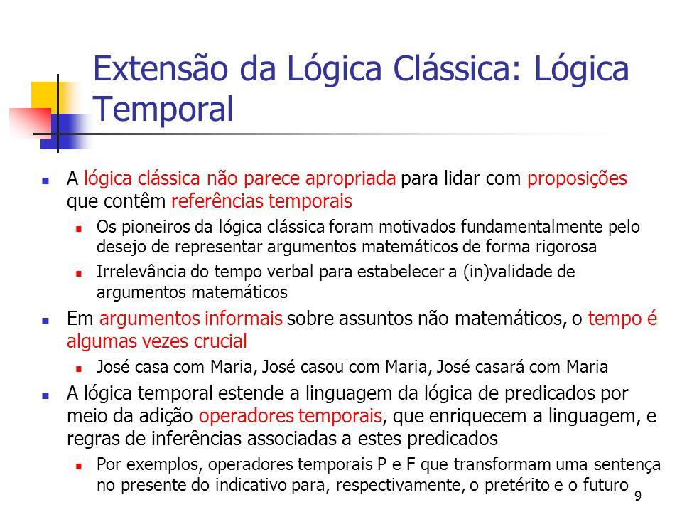 10 Extensão da Lógica Clássica: Lógicas Não-Monotônicas Tem como principal objetivo o desenvolvimento de sistemas de raciocínio que modelem a maneira como o senso comum é usado pelos humanos Características Capacidade de encurtar caminhos para conclusões Suficientemente robusto tal que quando uma conclusão alcançada se mostre errada, ela possa ser revisada A introdução de novas informações (axiomas) pode invalidar teoremas antigos - Não-monotonicidade Baseado na lógica clássica, embora seja uma nova lógica completamente desenvolvida pelo pessoal da IA Há vários tipos de lógicas não-monotônicas como a teoria da circunscrição, raciocínio default (adição de novas regras de inferência) e lógica modal (adição de operador modal é consistente ) Geralmente intratável em termos de tempo computacional