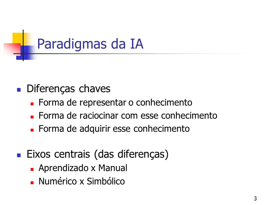 2 Paradigmas da IA Simbólico: metáfora lingüística/lógica Sistemas de produção Conexionista: metáfora cérebro Redes neurais Evolucionista: metáfora te