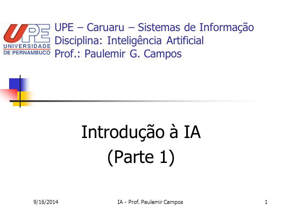 9/16/2014IA - Prof. Paulemir Campos1 UPE – Caruaru – Sistemas de Informação Disciplina: Inteligência Artificial Prof.: Paulemir G. Campos Introdução à