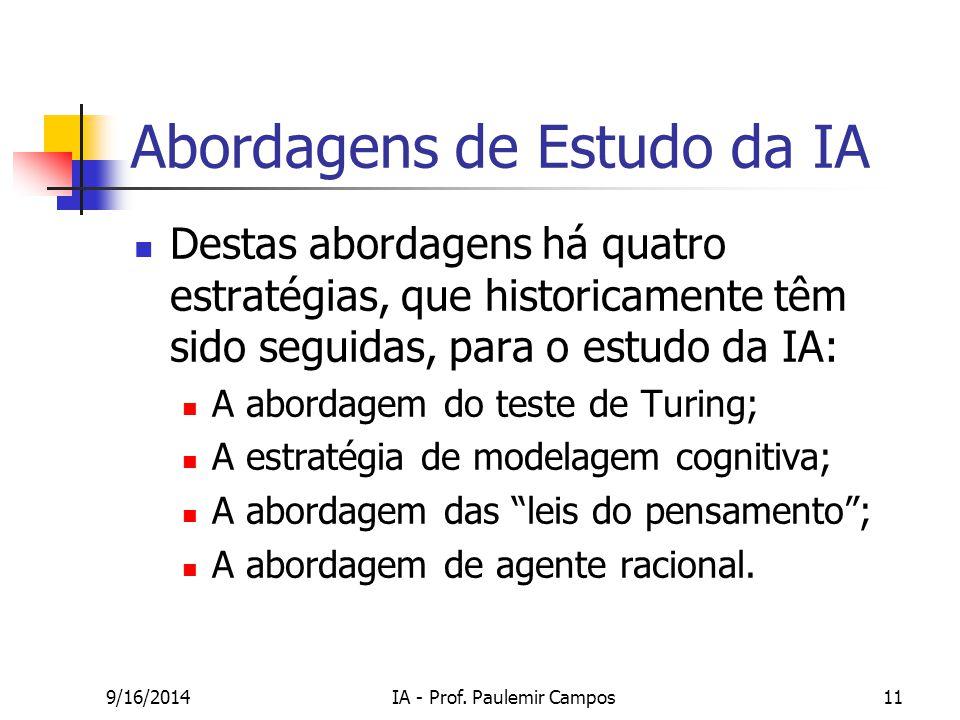9/16/2014IA - Prof. Paulemir Campos11 Abordagens de Estudo da IA Destas abordagens há quatro estratégias, que historicamente têm sido seguidas, para o