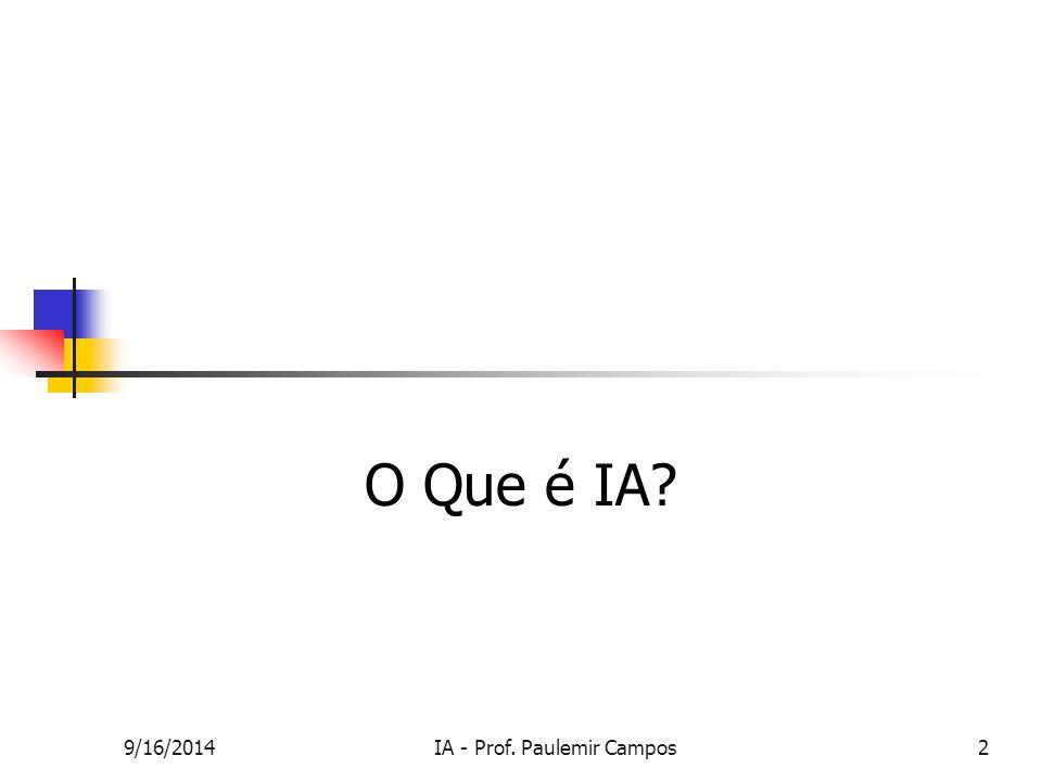 9/16/2014IA - Prof. Paulemir Campos2 O Que é IA?