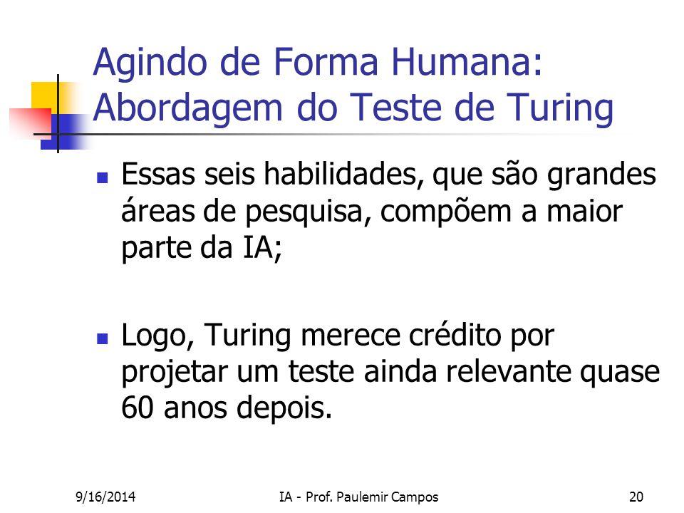 9/16/2014IA - Prof. Paulemir Campos20 Agindo de Forma Humana: Abordagem do Teste de Turing Essas seis habilidades, que são grandes áreas de pesquisa,