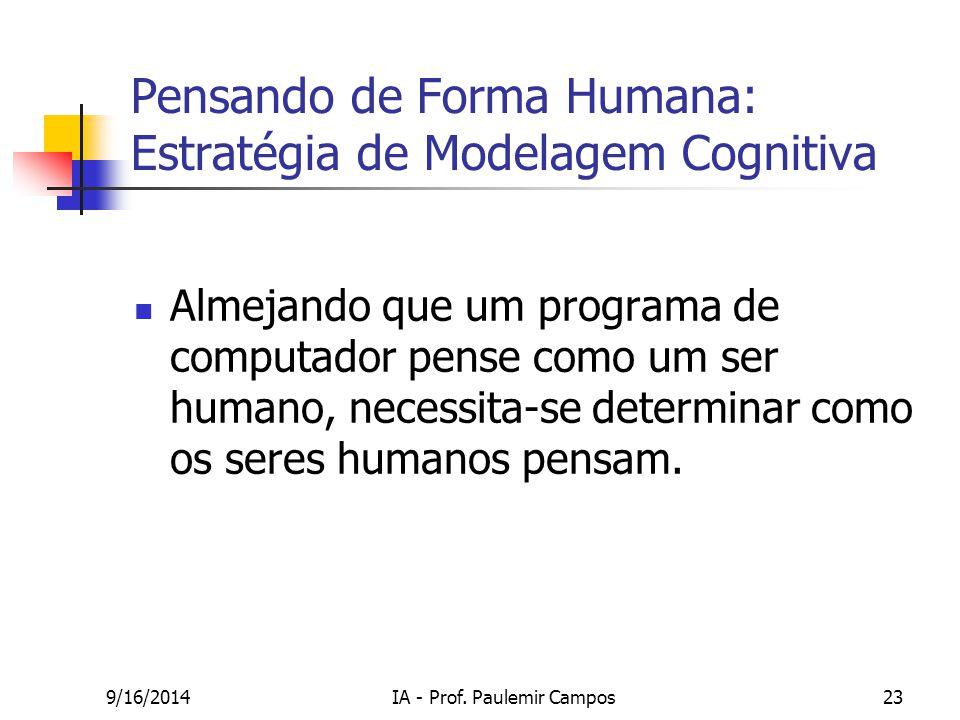 9/16/2014IA - Prof. Paulemir Campos23 Pensando de Forma Humana: Estratégia de Modelagem Cognitiva Almejando que um programa de computador pense como u