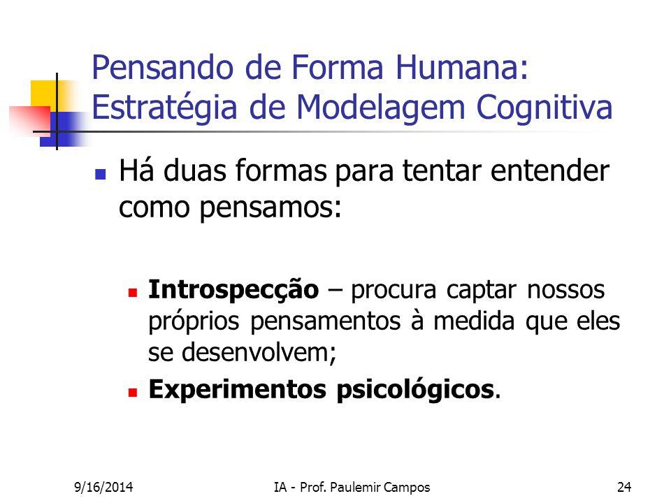 9/16/2014IA - Prof. Paulemir Campos24 Pensando de Forma Humana: Estratégia de Modelagem Cognitiva Há duas formas para tentar entender como pensamos: I