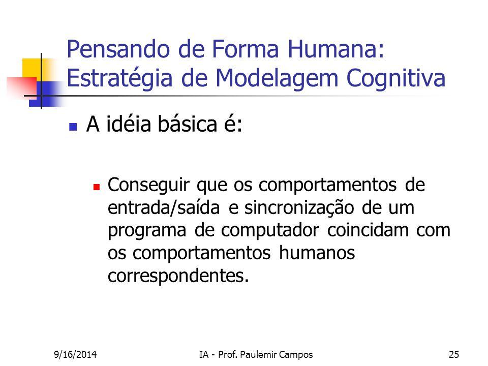 9/16/2014IA - Prof. Paulemir Campos25 Pensando de Forma Humana: Estratégia de Modelagem Cognitiva A idéia básica é: Conseguir que os comportamentos de