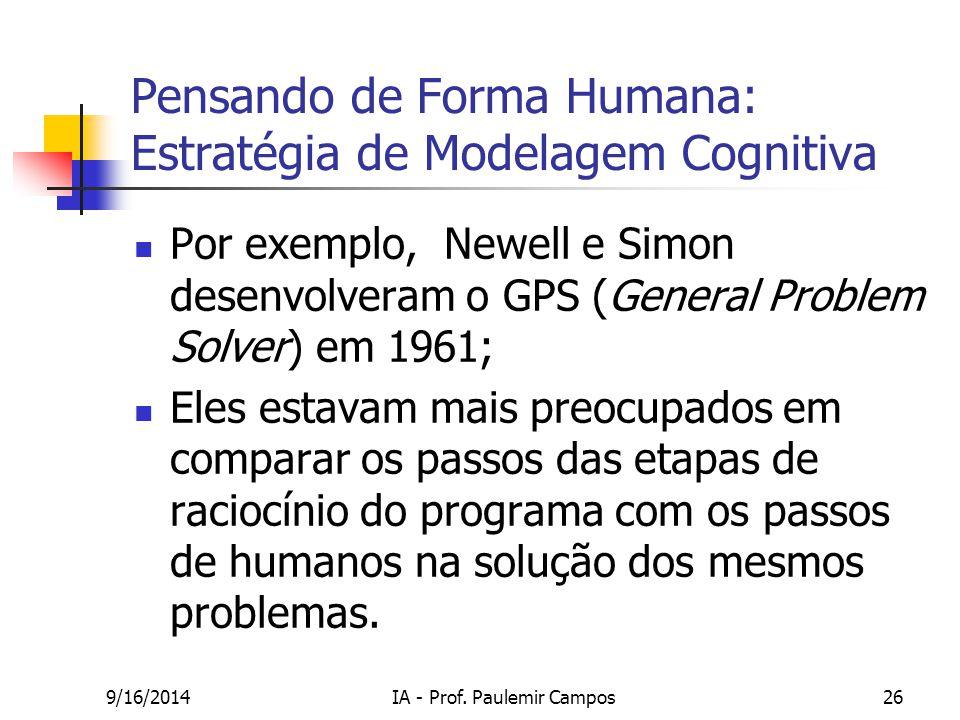 9/16/2014IA - Prof. Paulemir Campos26 Pensando de Forma Humana: Estratégia de Modelagem Cognitiva Por exemplo, Newell e Simon desenvolveram o GPS (Gen