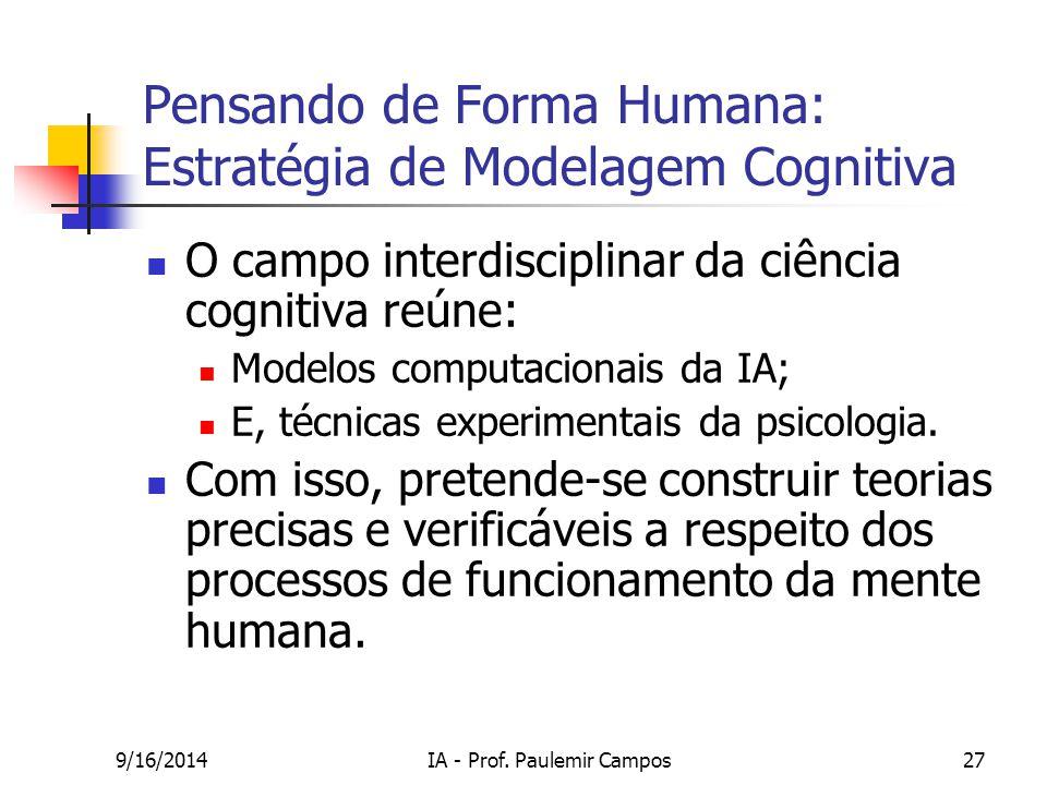 9/16/2014IA - Prof. Paulemir Campos27 Pensando de Forma Humana: Estratégia de Modelagem Cognitiva O campo interdisciplinar da ciência cognitiva reúne: