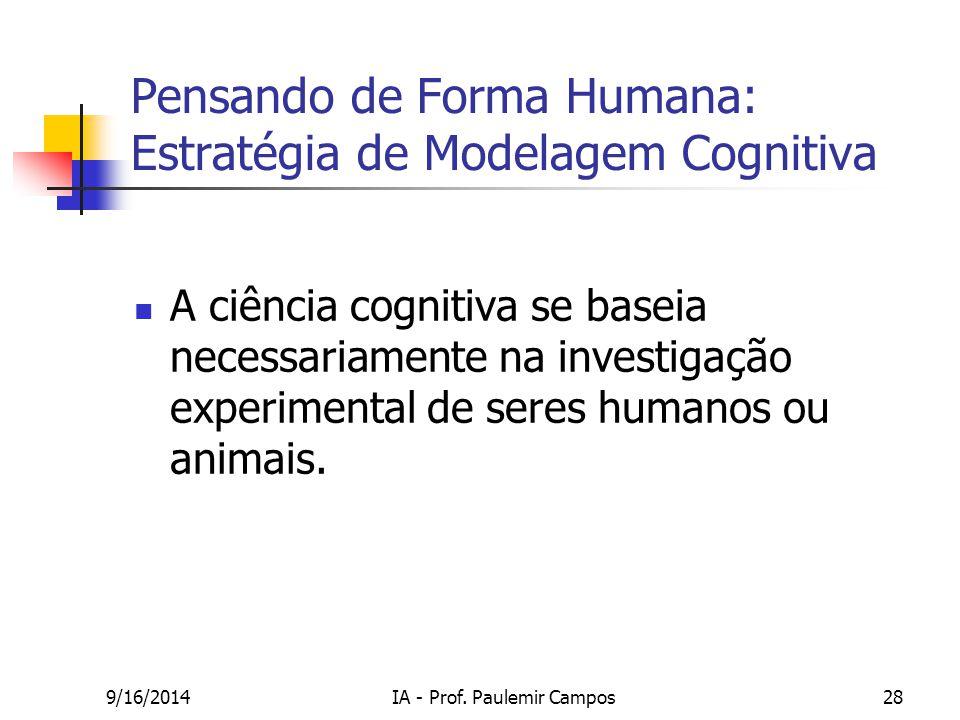 9/16/2014IA - Prof. Paulemir Campos28 Pensando de Forma Humana: Estratégia de Modelagem Cognitiva A ciência cognitiva se baseia necessariamente na inv