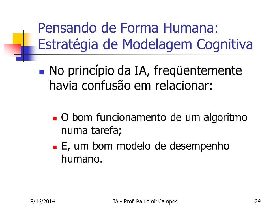 9/16/2014IA - Prof. Paulemir Campos29 Pensando de Forma Humana: Estratégia de Modelagem Cognitiva No princípio da IA, freqüentemente havia confusão em