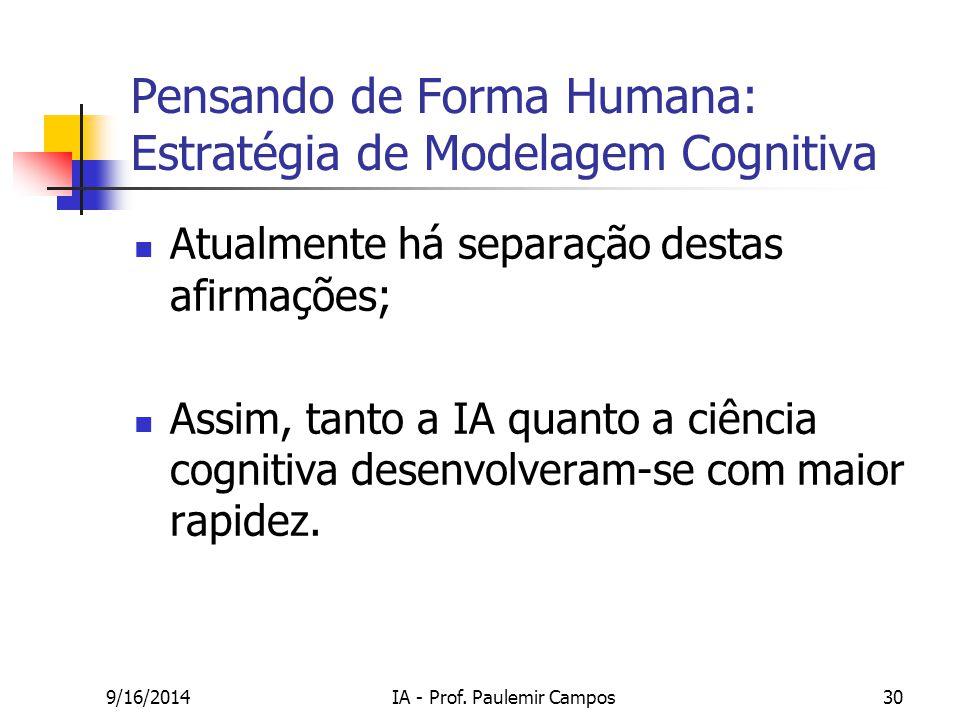 9/16/2014IA - Prof. Paulemir Campos30 Pensando de Forma Humana: Estratégia de Modelagem Cognitiva Atualmente há separação destas afirmações; Assim, ta