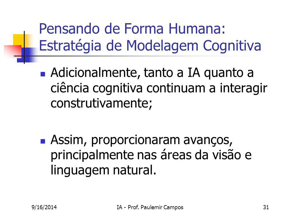 9/16/2014IA - Prof. Paulemir Campos31 Pensando de Forma Humana: Estratégia de Modelagem Cognitiva Adicionalmente, tanto a IA quanto a ciência cognitiv
