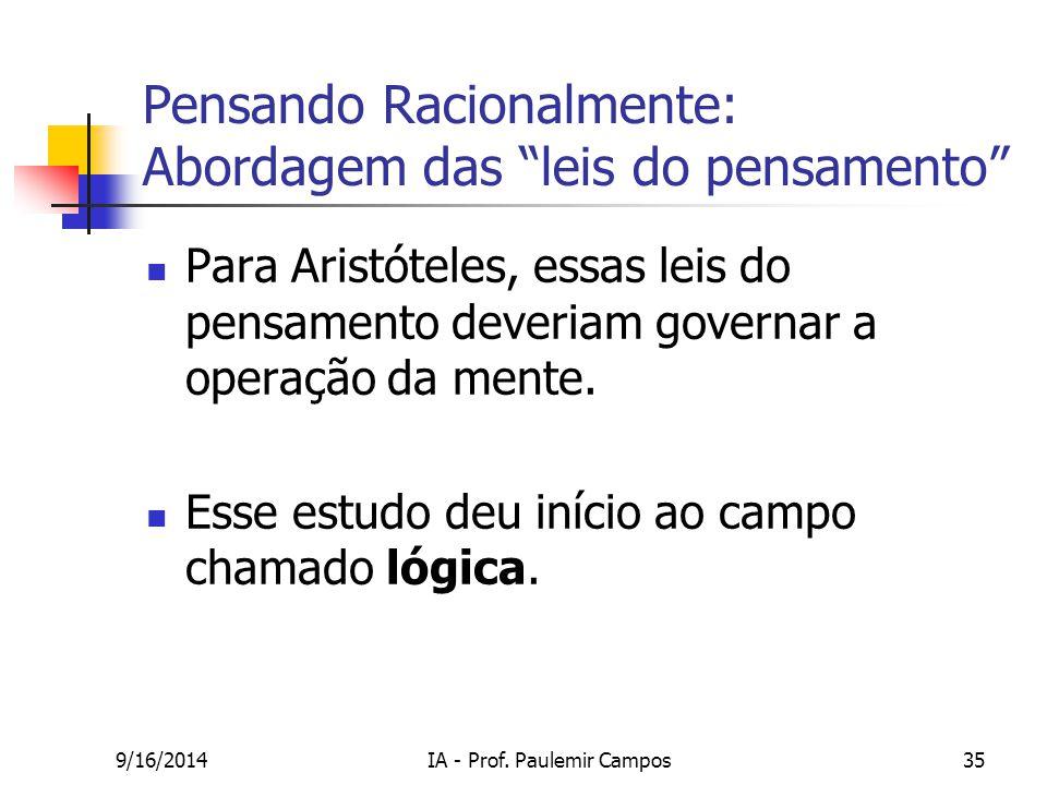 """9/16/2014IA - Prof. Paulemir Campos35 Pensando Racionalmente: Abordagem das """"leis do pensamento"""" Para Aristóteles, essas leis do pensamento deveriam g"""