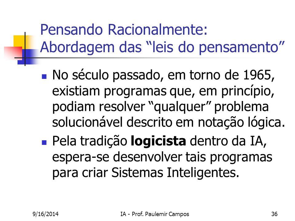 """9/16/2014IA - Prof. Paulemir Campos36 Pensando Racionalmente: Abordagem das """"leis do pensamento"""" No século passado, em torno de 1965, existiam program"""