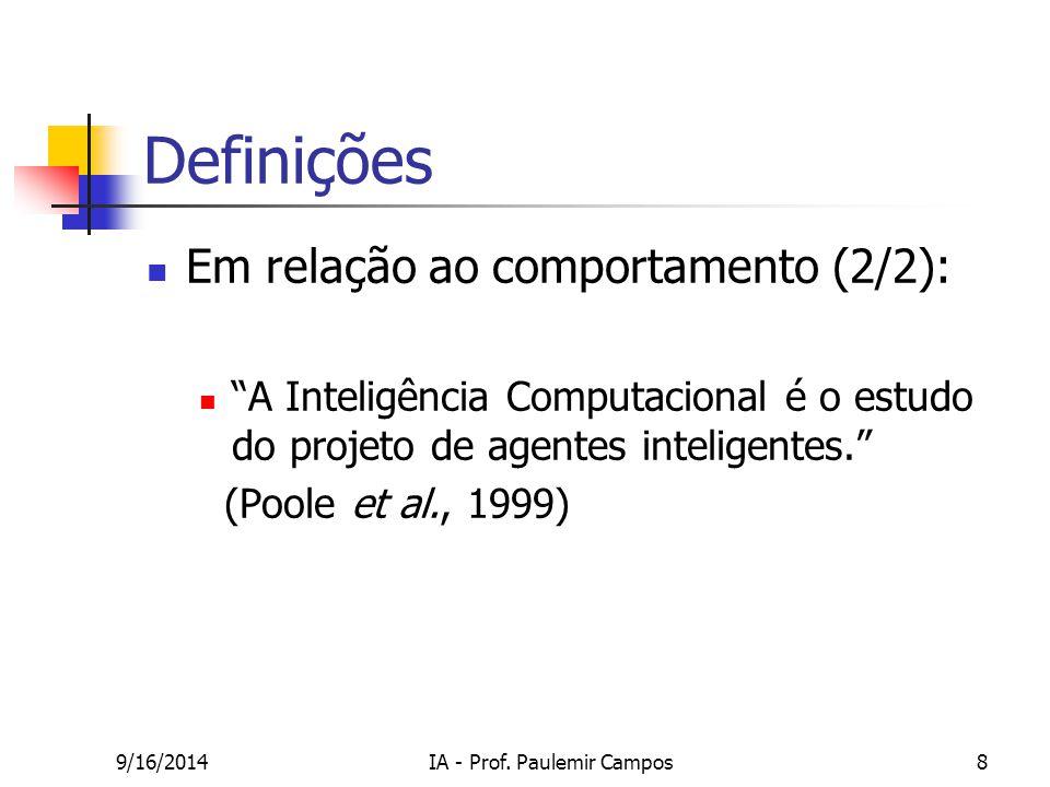 """9/16/2014IA - Prof. Paulemir Campos8 Definições Em relação ao comportamento (2/2): """"A Inteligência Computacional é o estudo do projeto de agentes inte"""