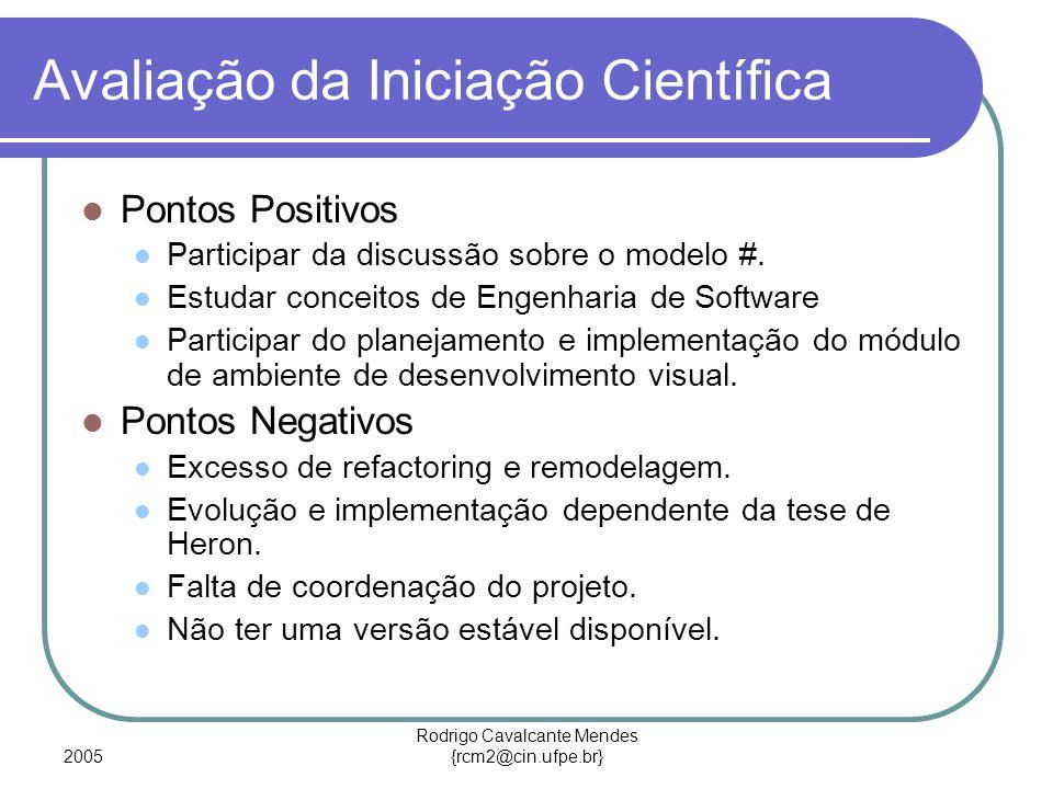 2005 Rodrigo Cavalcante Mendes {rcm2@cin.ufpe.br} Avaliação da Iniciação Científica Pontos Positivos Participar da discussão sobre o modelo #. Estudar