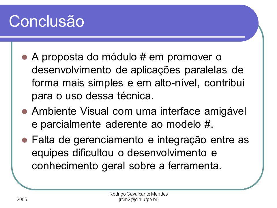2005 Rodrigo Cavalcante Mendes {rcm2@cin.ufpe.br} Conclusão A proposta do módulo # em promover o desenvolvimento de aplicações paralelas de forma mais