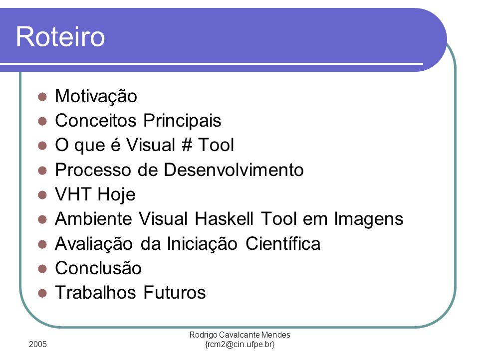 2005 Rodrigo Cavalcante Mendes {rcm2@cin.ufpe.br} Roteiro Motivação Conceitos Principais O que é Visual # Tool Processo de Desenvolvimento VHT Hoje Ambiente Visual Haskell Tool em Imagens Avaliação da Iniciação Científica Conclusão Trabalhos Futuros