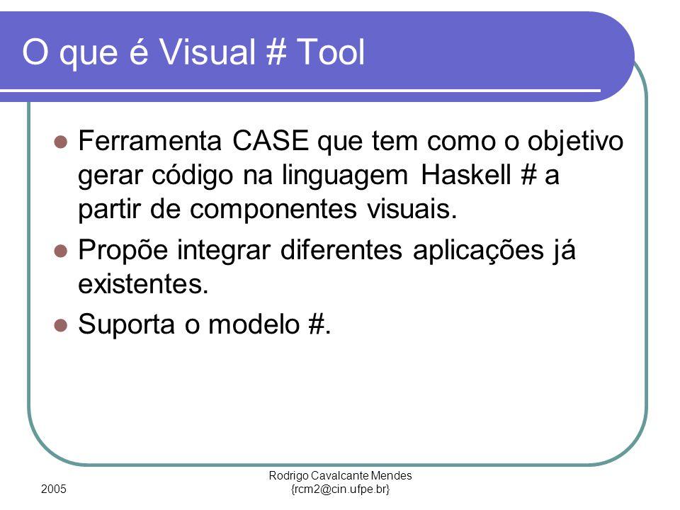 2005 Rodrigo Cavalcante Mendes {rcm2@cin.ufpe.br} O que é Visual # Tool Ferramenta CASE que tem como o objetivo gerar código na linguagem Haskell # a partir de componentes visuais.