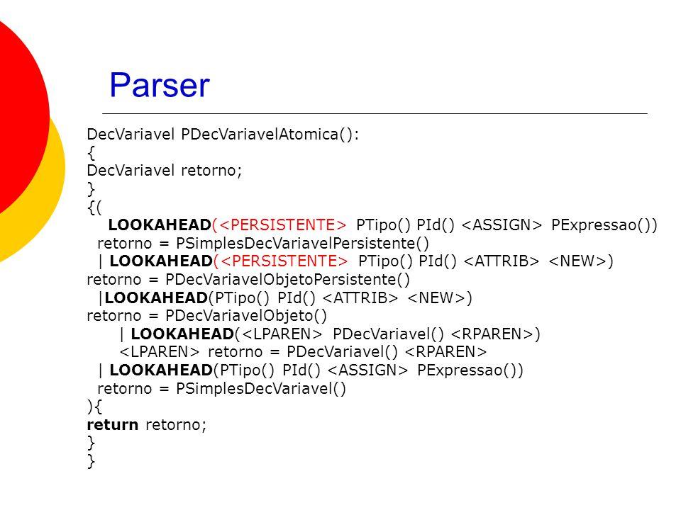 Parser DecVariavel PDecVariavelAtomica(): { DecVariavel retorno; } {( LOOKAHEAD( PTipo() PId() PExpressao()) retorno = PSimplesDecVariavelPersistente() | LOOKAHEAD( PTipo() PId() ) retorno = PDecVariavelObjetoPersistente() |LOOKAHEAD(PTipo() PId() ) retorno = PDecVariavelObjeto() | LOOKAHEAD( PDecVariavel() ) retorno = PDecVariavel() | LOOKAHEAD(PTipo() PId() PExpressao()) retorno = PSimplesDecVariavel() ){ return retorno; }