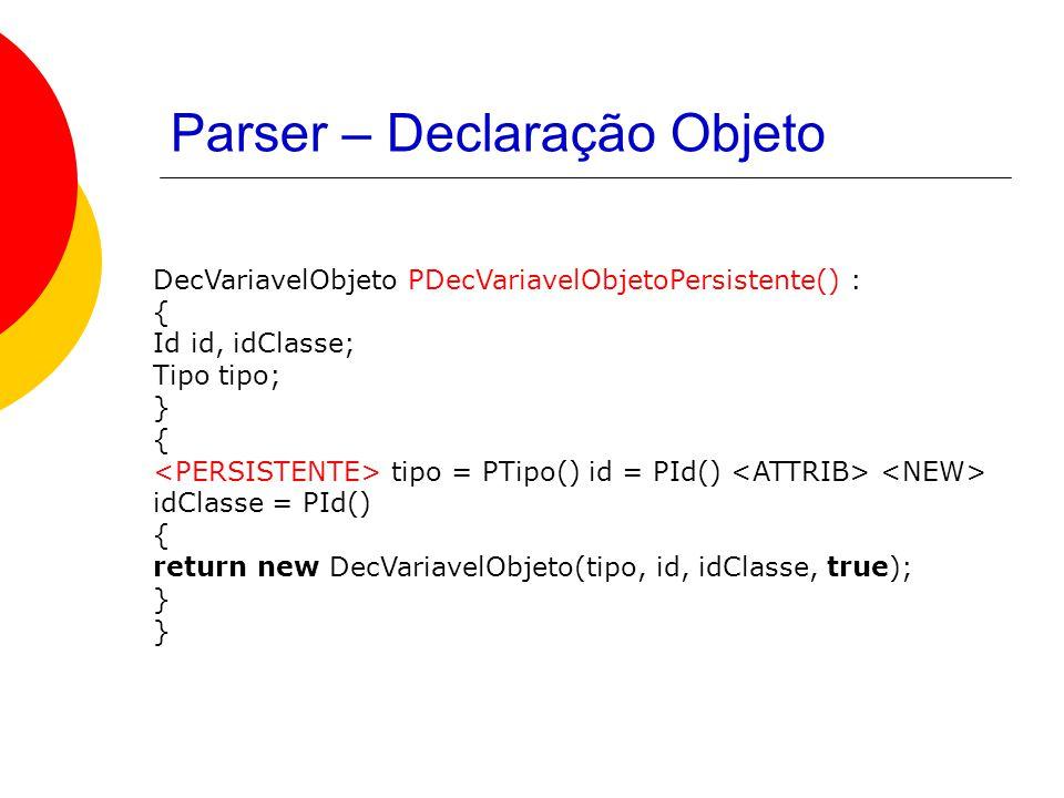 Parser – Declaração Objeto DecVariavelObjeto PDecVariavelObjetoPersistente() : { Id id, idClasse; Tipo tipo; } { tipo = PTipo() id = PId() idClasse = PId() { return new DecVariavelObjeto(tipo, id, idClasse, true); }