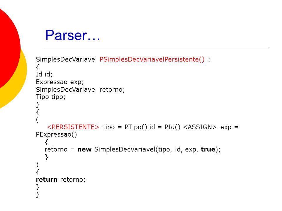 Parser… SimplesDecVariavel PSimplesDecVariavelPersistente() : { Id id; Expressao exp; SimplesDecVariavel retorno; Tipo tipo; } { ( tipo = PTipo() id = PId() exp = PExpressao() { retorno = new SimplesDecVariavel(tipo, id, exp, true); } ) { return retorno; }