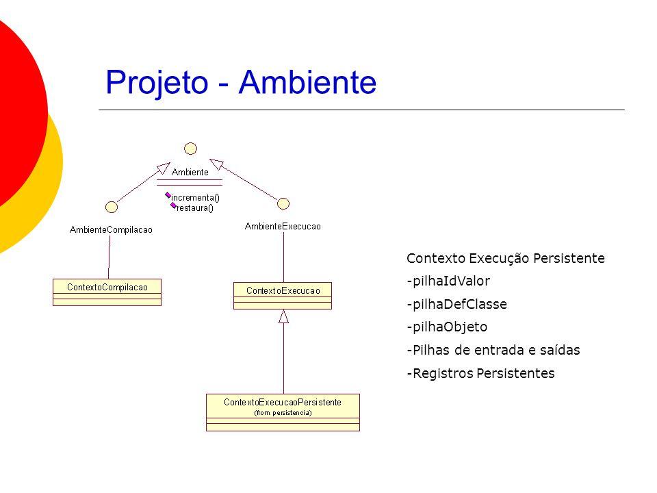 Projeto - Ambiente Contexto Execução Persistente -pilhaIdValor -pilhaDefClasse -pilhaObjeto -Pilhas de entrada e saídas -Registros Persistentes