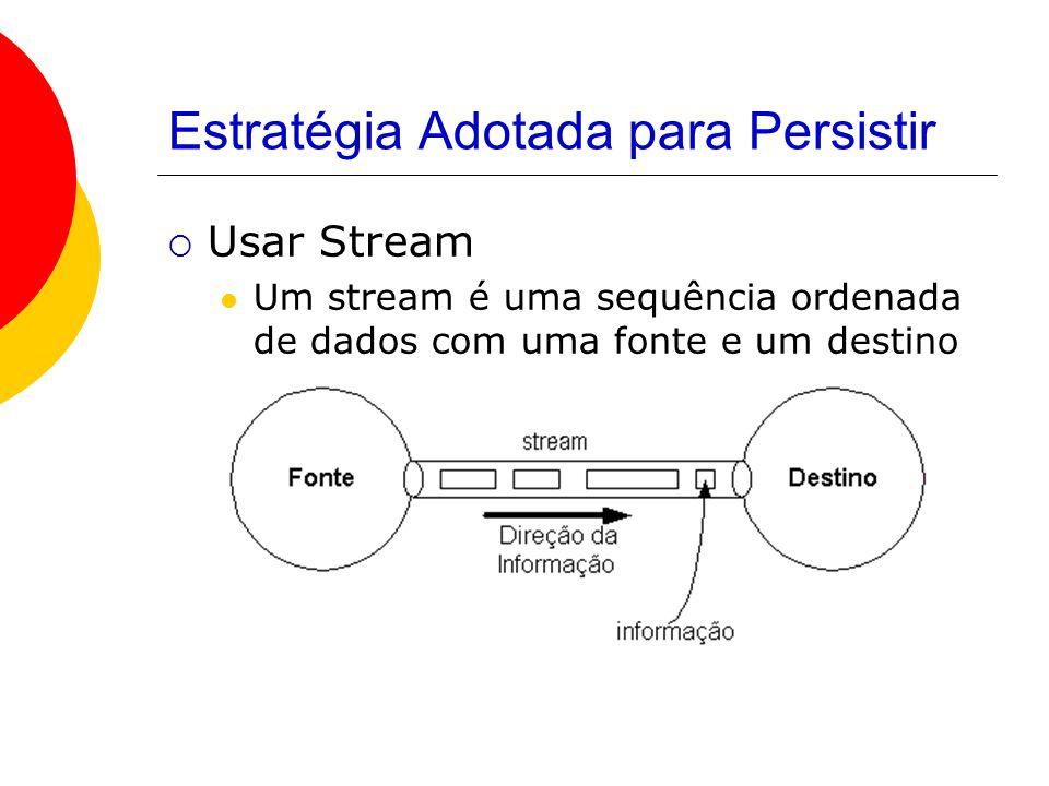 Estratégia Adotada para Persistir  Usar Stream Um stream é uma sequência ordenada de dados com uma fonte e um destino