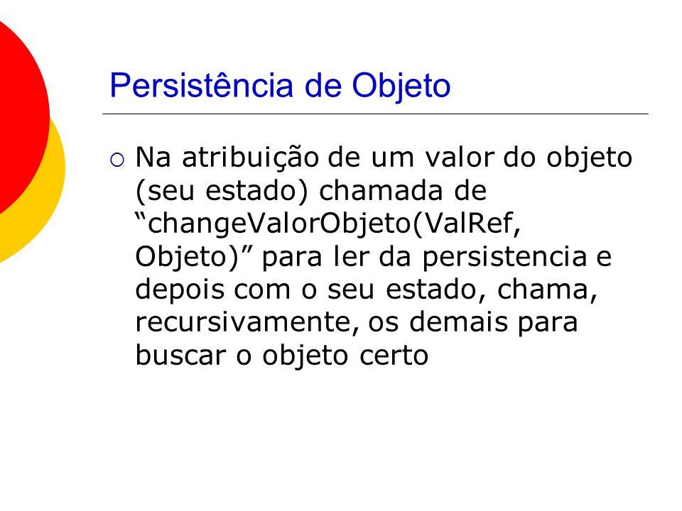 Persistência de Objeto  Na atribuição de um valor do objeto (seu estado) chamada de changeValorObjeto(ValRef, Objeto) para ler da persistencia e depois com o seu estado, chama, recursivamente, os demais para buscar o objeto certo