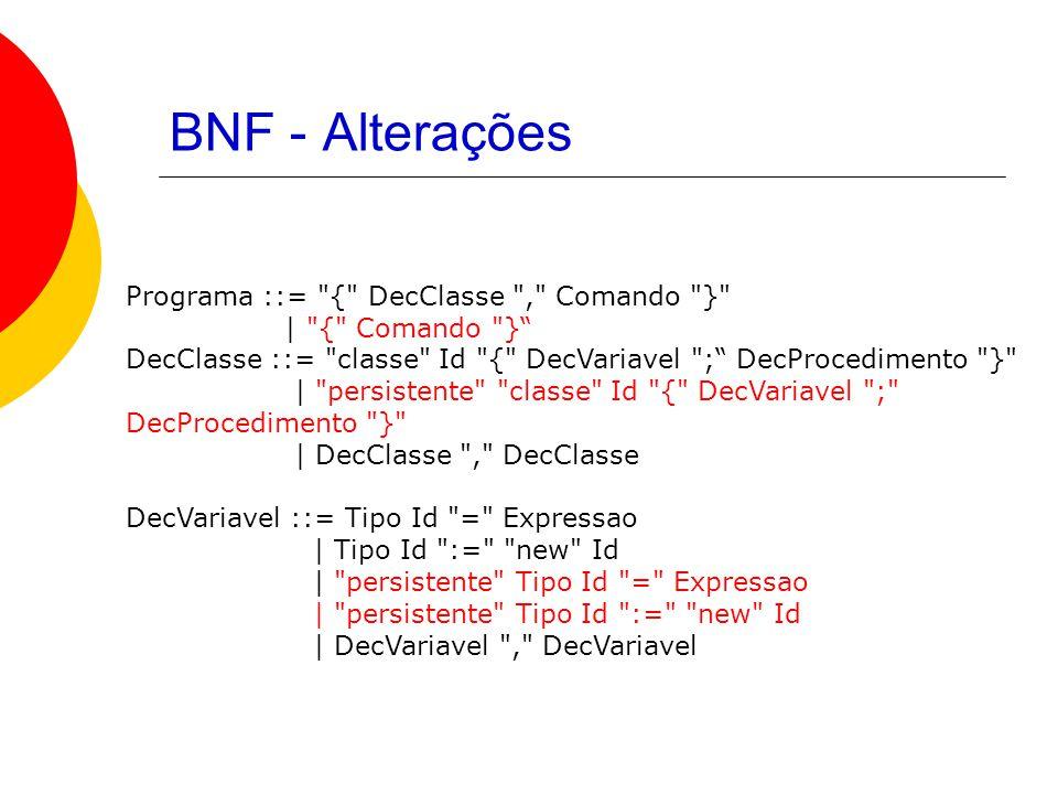 BNF - Alterações Programa ::= { DecClasse , Comando } | { Comando } DecClasse ::= classe Id { DecVariavel ; DecProcedimento } | persistente classe Id { DecVariavel ; DecProcedimento } | DecClasse , DecClasse DecVariavel ::= Tipo Id = Expressao | Tipo Id := new Id | persistente Tipo Id = Expressao | persistente Tipo Id := new Id | DecVariavel , DecVariavel