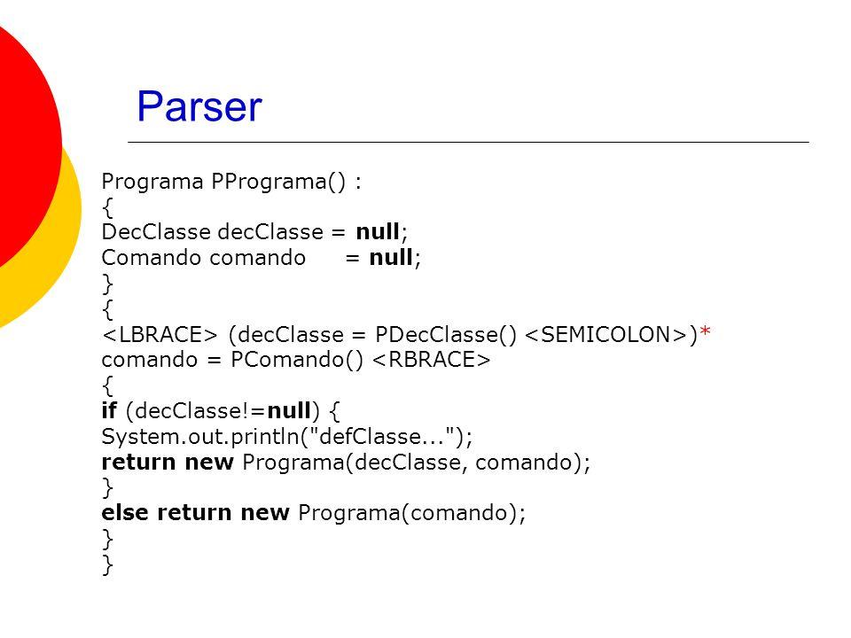 Parser Programa PPrograma() : { DecClasse decClasse = null; Comando comando = null; } { (decClasse = PDecClasse() )* comando = PComando() { if (decClasse!=null) { System.out.println( defClasse... ); return new Programa(decClasse, comando); } else return new Programa(comando); }
