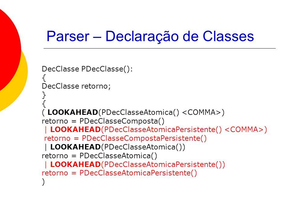 Parser – Declaração de Classes DecClasse PDecClasse(): { DecClasse retorno; } { ( LOOKAHEAD(PDecClasseAtomica() ) retorno = PDecClasseComposta() | LOOKAHEAD(PDecClasseAtomicaPersistente() ) retorno = PDecClasseCompostaPersistente() | LOOKAHEAD(PDecClasseAtomica()) retorno = PDecClasseAtomica() | LOOKAHEAD(PDecClasseAtomicaPersistente()) retorno = PDecClasseAtomicaPersistente() )
