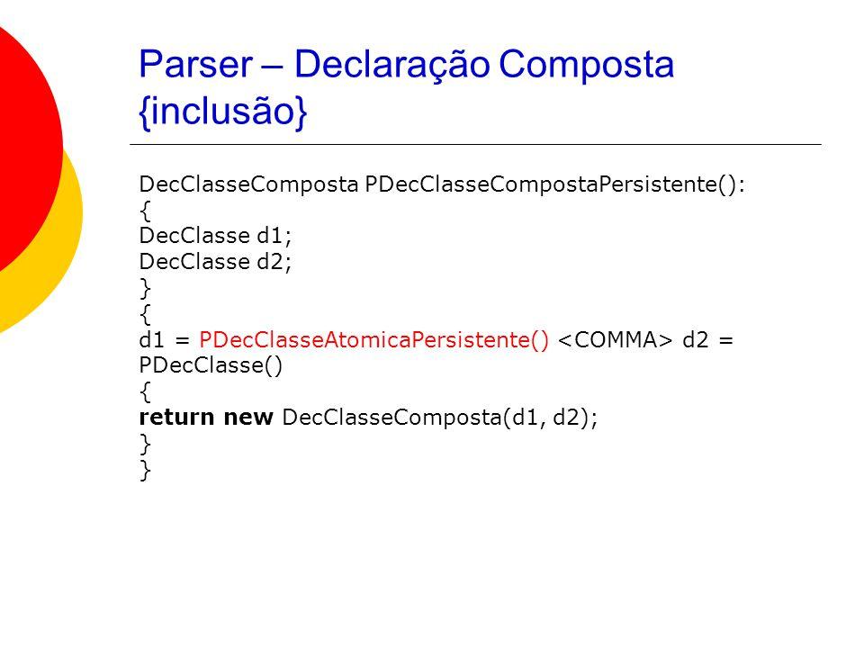 Parser – Declaração Composta {inclusão} DecClasseComposta PDecClasseCompostaPersistente(): { DecClasse d1; DecClasse d2; } { d1 = PDecClasseAtomicaPersistente() d2 = PDecClasse() { return new DecClasseComposta(d1, d2); }