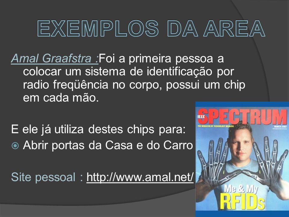 Amal Graafstra :Foi a primeira pessoa a colocar um sistema de identificação por radio freqüência no corpo, possui um chip em cada mão.